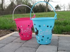 Easter basket: Personalized sand pail, bucket with shovel - name or monogram, polka dots, chocolate bunnies or custom design
