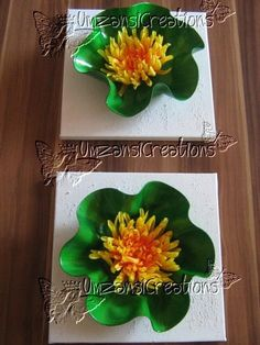 Recycled Painted Vinyl Record - Canvas Wall Decor - 3D Flower