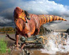 Rhinorex condrupus (dinosaurio hadrosáurido del Cretácico de Norteamérica, 75mA) (Julius Csotonyi)