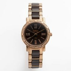 Armitron NOW Rose Gold Tone & Brown Ceramic Crystal Watch - Made with Swarovski Elements - 75/3878RGBN - Women