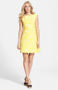 Tory Burch 'Mariana' Floral Cloqué A-Line Dress Dresses For Work, Formal Dresses, Wedding Dresses, Dresses Dresses, Cocktail Outfit, Yellow Fashion, Nordstrom Dresses, Casual Wear, Tory Burch