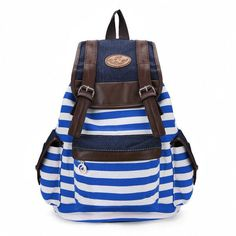 Women Unisex Canvas Stripe Leisure Backpack