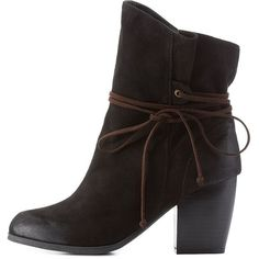 Charlotte Russe Black Qupid Slouchy Wrapped Chunky Heel Booties by... ($43) ❤ liked on Polyvore featuring shoes, boots, ankle booties, black, ankle high boots, slouch ankle boots, black boots, black bootie and slouchy ankle boots