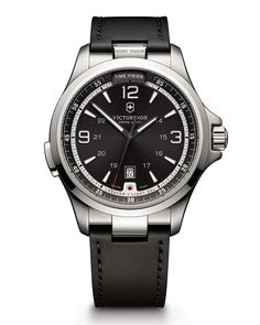 Night Vision Watch with Leather Strap, Black