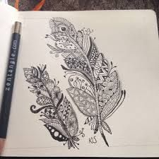 zentangle feather patterns step by step - Google Search