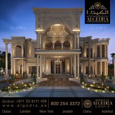 Exterior Design Gallery - Best Villa Exteriors by Algedra House Architecture Styles, Classic Architecture, Architecture Design, Dream Home Design, House Design, Fachada Colonial, Interior Design Dubai, Dream Mansion, Craftsman Exterior