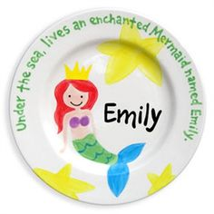 Mermaid Hand Painted Plate, Tableware,Personalized Items