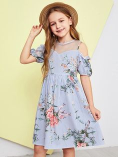 To find out about the Girls Mesh Insert Cold Shoulder Floral Striped Dress at SHEIN, part of our latest Girls Dresses ready to shop online today! Girls Dresses Online, Dresses Kids Girl, Cute Girl Outfits, Cute Dresses, Kids Outfits, Belted Dress, The Dress, Striped Dress, Baby Dress