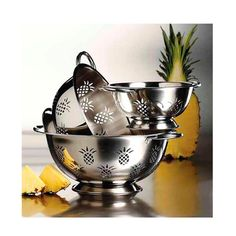 3 Piece Stainless Steel Pineapple Colander Set, $12.99