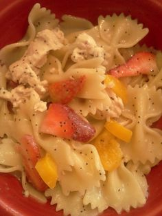 Bowtie pasta salad with chicken and strawberries. Super simple and tasty!