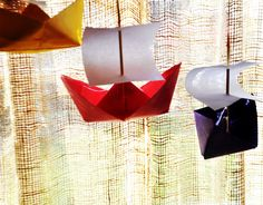 origami Mayflower--make these out of kite paper