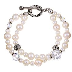 Lola's Jewelry Sterling Silver Double-strand White Freshwater Pearl Bracelet (8 mm)