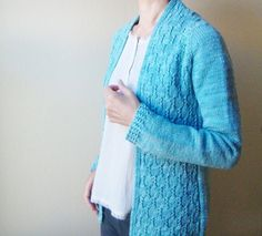 Top down cardigan with interesting lace