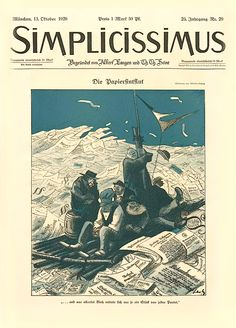 1920, Oct 13. The Paper Flood (Die Papiersintflut), Wilhelm Schulz cover of Simplicissimus 29, Vol. 25, p.377