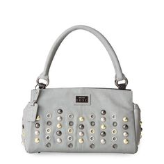 Lucerne (Classic)-Chromium grey soft faux leather accented by oversized stud and grommet detailing in various metallic colors.