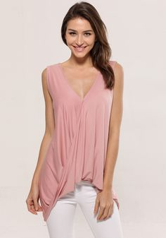 Crossover draped tank top.