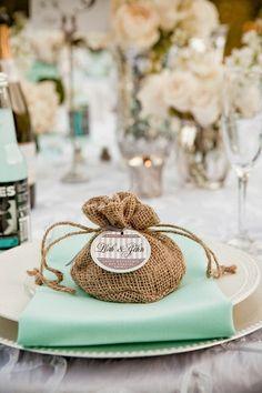 cute burlap bags & tags as favors