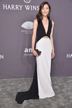 Model Liu Wen attends the 19th Annual amfAR New York Gala at Cipriani Wall Street on February 8, 2017 in New York City.