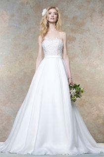 Illusion Neckline Sweep Train Lace Organza A-line Wedding Dress