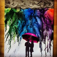 Melted crayon art with silhouette of my hub and me under a red umbrella