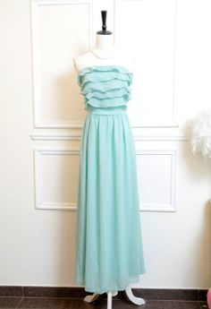 Prom Party Cocktail Dress - GODDESS mint green chiffon ruffles strapless long maxi dress