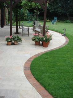 Paving Slab Ideas Cheap Garden Paving Small Patios With . Patios In Havering Essex Outdoor Garden Patio Design. Patio Edging, Brick Edging, Brick Border, Curved Patio, Small Patio, Grass Edging, Red Brick Paving, Garden Edging Stones, Grey Brick