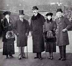 Princess Victoria of England, her brother King George V, King Haakon VII and Queen Maud of Norway, their son Prince Olav