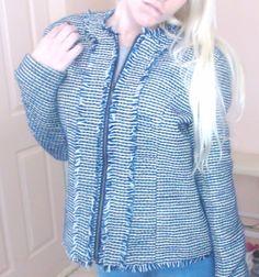 NEW Women's CHRISTOPHER & BANKS Blue Plaid Fringe Jacket coat Blazer - Size M #ChristopherBanks #BasicJacket