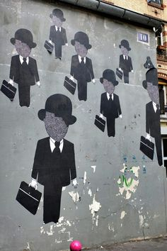 Fred le Chevalier -Paris 20- rue Jean-Baptiste Dumay | Street Art | Paris | men | suits | Street Artists | Art | Urban Art | Modern Art | Urban Artists | Mural | Graffiti | travel | Schomp MINI