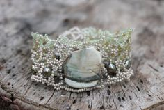 Soft woven cuff  Wide cuff bracelet  Petrified wood by FableBubble