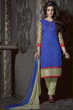Look Beautiful with Blue Chanderi Salwar Kameez Shop Now @ http://zohraa.com/blue-chanderi-salwar-kameez-z2460p1007-16.html SKU: Z2460P1007-16 Rs. 1,749/-