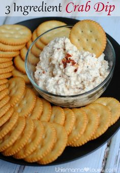 3 Ingredient Crab Dip- yep, 3 ingredients, takes 2 min to make and needs to chill a few hours.  PERFECT for parties and summer barbecues from This Mama Loves.