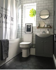 69 master bathroom remodel ideas with subway tile design 26 Bathroom Floor Tiles, Bathroom Renos, Small Bathroom, Ikea Bathroom, 2 Mirrors In Bathroom, Bathroom Remodeling, Black And White Bathroom Floor, Black Bathtub, Bathroom Pink