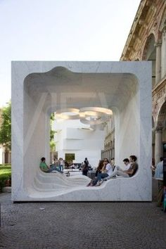"""10 Forward-Thinking Buildings by Snøhetta Designed for the """"Mutant Architecture and Design"""" presentation by interiors magazine Interni at Milan's 2011 Design Week, this open-air marble cube features a hollow interior with an undulating floor. Baroque Architecture, Urban Architecture, Open Space Architecture, Installation Architecture, Pavilion Architecture, Architecture Diagrams, Architecture Portfolio, Sustainable Architecture, Residential Architecture"""