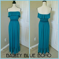 "🔶 Strapless Maxi Dress Boho Sundress BaileyBlue 🔶 GREAT DEAL! OWN THIS HOST PICK TODAY 🔶 * Lovely, strapless, bohemian maxi dress by BaileyBlue. Ruffled top and bottom. Elastic above bust and at waist. Teal blue-green color.  * Size medium. 51"" length, 28"" bust, 24"" waist.  * Polyester/rayon/spandex. Has a lot of stretch. * Good used condition. Some pilling on fabric. BaileyBlue Dresses Maxi"