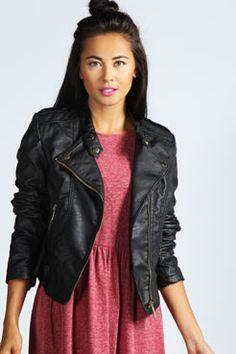 Jaslene Faux Leather Biker Jacket at boohoo.com