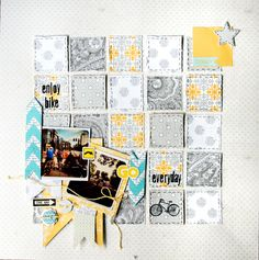enjoy bike Lily Bee by Maísa Mendonça - love the blocks on the background Paper Bag Scrapbook, Album Scrapbook, Scrapbook Sketches, Scrapbook Page Layouts, Cruise Scrapbook, Scrapbook Photos, Triangles, Bee Sketch, How To Make A Paper Bag
