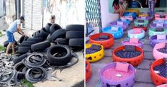 Artist Turns Old Tires Into Beds For Stray Animals : HumansBeingBros Homeless Dogs, Homeless People, Recycling Containers, Ways To Recycle, Reuse Recycle, Used Tires, Sustainable Furniture, Creating A Business, Cozy Bed