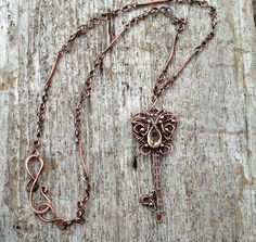 Antiqued Copper and Citrine Key of by MandatoJewelryDesign on Etsy