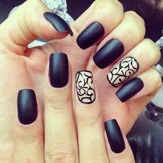 Pretty Black Matte Nailart with accent nail  #nails #nailart #chicnails #blackpolish - bellashoot.com