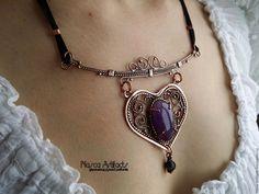 """Купить Ажурная подвеска """"Аметистовое сердце"""" - фиолетовый, подвеска, украшения ручной работы, украшение на шею"""