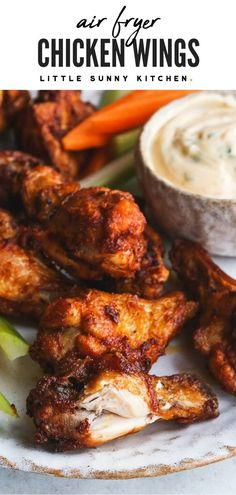 These Air Fryer chicken wings are so crispy and delicious from the outside, juicy and flavorful from the inside. Ready in under 20 minutes from start to finish! Low Carb Chicken Wings, Honey Bbq Chicken Wings, Air Fry Chicken Wings, Cooking Chicken Wings, Crispy Chicken Wings, Chicken Wing Recipes, Bbq Wings, Chicken Ideas, Air Fryer Wings