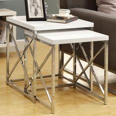 Monarch Glossy White / Chrome Metal Nesting Tables - 2 Piece Set | www.coffeetablesgalore.com