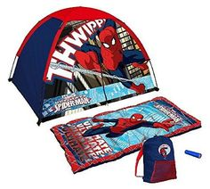 Marvel Ultimate Spider-man Tent and Sleeping Bag 4 Piece Fun Camping Kit http://camperlover.org/comfortable-ways-to-sleep-in-a-tent/ http://camperlover.org/how-to-heat-a-camping-tent/
