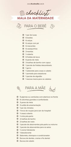 Bolsa da maternidade: confira dicas certeiras e um checklist completo Bolsa da maternidade: confira dicas certeiras e um checklist completo More from my sitecloset ideas for small walk in closets Doula, Kids And Parenting, Parenting Hacks, Nouveaux Parents, Futur Parents, Baby Shower Checklist, Baby List, Baby Supplies, Baby Needs