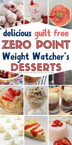 Allow yourself to enjoy a decadent and satisfying dessert while sticking to your Weight Watchers diet. Here are 25 delicious GUILT FREE zero point weight watchers desserts for you to enjoy. Weight Watcher Desserts, Weight Watchers Snacks, Weight Watcher Dinners, Poulet Weight Watchers, Plats Weight Watchers, Weight Watchers Meal Plans, Weight Watchers Chicken, Weight Loss, Diets