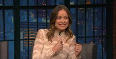 Olivia Wilde talked to Seth Meyers about the fake pubic hair she wore for a nude scene in Vinyl. Seth Meyers, Olivia Wilde, Naked, Ruffle Blouse, Scene, Celebrity Women, Stars, 20 Years, Celebrities