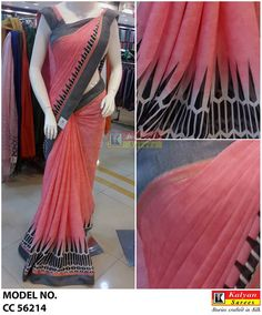 Beautifullll chiffon piece in peach and grey colour from Kalyan sarees.