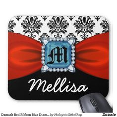 Damask Red Ribbon Blue Diamond Monogram And Name Mouse Pad