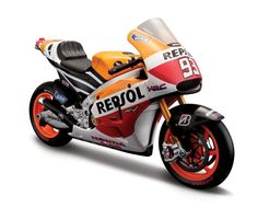 Maisto 1:10 Honda RC213V Diecast Model Motorcycle 31406MM This Honda RC213V (Marc Marquez - No 93 MotoGP 2014) Diecast Model Motorcycle is Repsol Livery and features working stand, steering, wheels. It is made by Maisto and is 1:10 scale (approx. 20cm / 7.9in long).    #Maisto #ModelMotorbike #Honda #MiniModelBikes